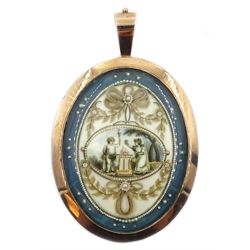 Regency picture back pendant, the central motif set with seed pearls, beads, hair and a painted ivory plaque depicting a Classical garden scene
