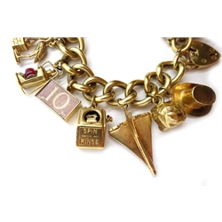 Heavy 9ct gold curb heart locket bracelet, with sixteen 9ct charms, including concord, mostly hallmarked, approx 97gm