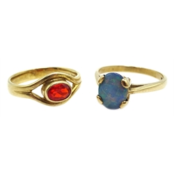 9ct gold fire opal ring, hallmarked and a 9ct gold opal triplet ring, stamped 375