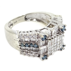 14ct white gold blue and white diamond square cluster ring, with tapering diamond set shoulders, hallmarked
