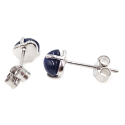 Pair of 18ct white gold heart shaped cabochon sapphire earrings, sapphires approx 2.7 carat
