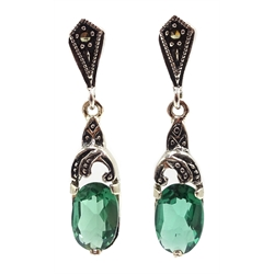 Pair of silver green tourmaline and marcasite pendant earrings, stamped 925