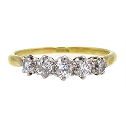 Early 20th century 18ct gold (tested) five stone old cut diamond ring