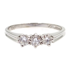 18ct white gold three stone diamond ring, hallmarked