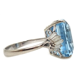 18ct white gold emerald cut aquamarine ring, with tapering baguette diamond shoulders, stamped 750