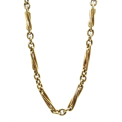 9ct gold trombone link necklace with clip, hallmarked