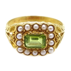 Silver-gilt peridot and seed pearl ring, stamped SIL