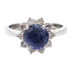 18ct white gold sapphire and diamond cluster ring, hallmarked, sapphire approx 2.1 carat, diamonds approx 0.3 carat