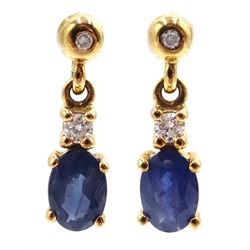 Pair of 9ct gold sapphire and diamond pendant earrings, hallmarked