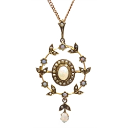 Edwardian 15ct gold (tested) opal and seed pearl pendant/brooch, on gold chain with barrel clasp stamped 9ct