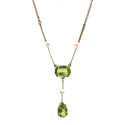 Edwardian gold peridot and pearl pendant necklace, stamped 9ct