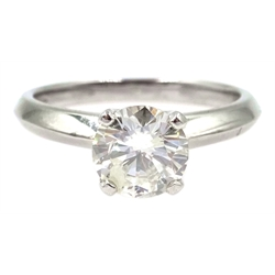 Platinum diamond solitaire ring, hallmarked, diamond approx 1.2 carat