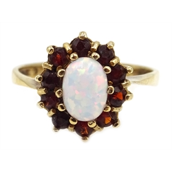 9ct gold opal and garnet cluster ring, hallmarked