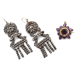 Pair of Georgian steel pendant earrings and a Georgian gold amethyst pendant brooch