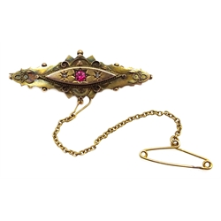 Victorian gold diamond and pink stone set brooch, stamped 9ct