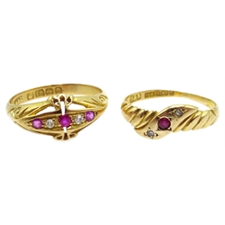 18ct gold ruby and diamond ring, Birmingham 1912 and a similar 15ct gold Victorian ring, Birmingham 1898
