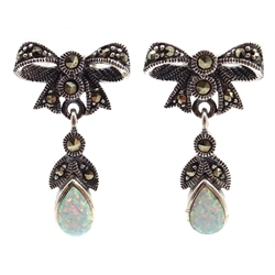 Pair of silver opal and marcasite pendant bow earrings, stamped 925