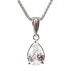 18ct white gold pear shaped diamond pendant necklace, hallmarked, diamond 1.05 carat