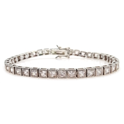 Silver cubic zirconia line bracelet, stamped 925