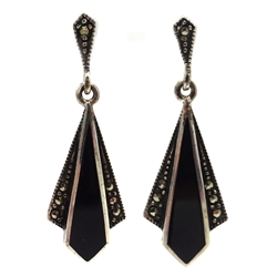 pair of silver marcasite and black onyx pendant earrings, stamped 925