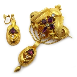 Victorian 18ct gold (tested) ornate leaf and swag design stone set brooch with matching earring