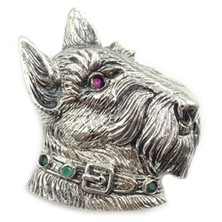 Silver gem set Scottie dog brooch, stamped 925