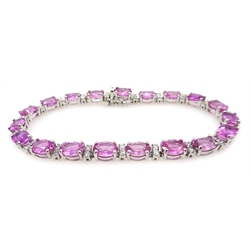18ct white gold pink sapphire and diamond bracelet, sapphires approx 18 carat, diamonds approx 1.3 carat