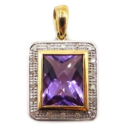 9ct gold amethyst and diamond pendant, stamped 375