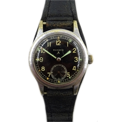Record WWII Military Issue 'Dirty Dozen' wristwatch screw back with issue markings W.W.W.  L24929 542776, on leather strap