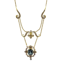 Edwardian gold green/blue tourmaline and seed pearl necklace, stamped 15ct