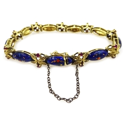18ct gold enamel and pink stone set link bracelet, stamped 750