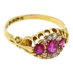 Edwardian 18ct gold ruby and diamond ring by Edward Durban & Co, Chester 1903