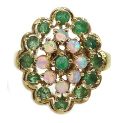 9ct gold opal and emerald cluster ring, hallmarked