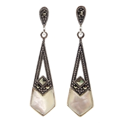 Pair of silver mother of pearl and marcasite pendant earrings, stamped 925