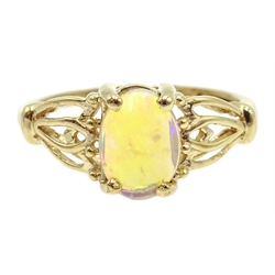 9ct gold single stone opal ring, hallmarked