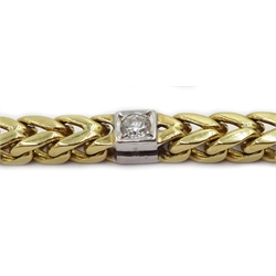 18ct gold wheat chain bracelet set with seven princess cut diamonds, hallmarked