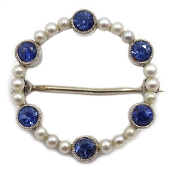 Edwardian white gold pearl and sapphire circular brooch, stamped 9ct, makers mark C & F