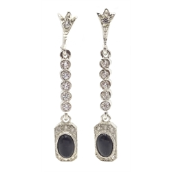 Pair of silver black onyx pendant earrings
