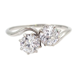 Platinum (tested) two stone diamond crossover ring, each diamond approx 0.5 carat