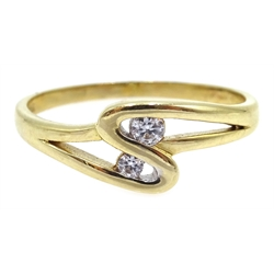 9ct gold cubic zirconia crossover ring, hallmarked
