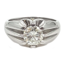 Gentleman's 18ct white gold diamond solitaire ring, hallmarked, diamond 1.52 carat, with ILG certificate