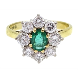 18ct gold emerald and diamond cluster ring, hallmarked