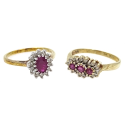 Two 9ct gold ruby and diamond cluster rings, hallmarked