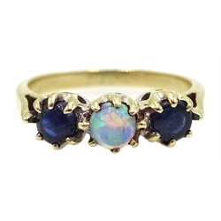 9ct gold three stone sapphire and opal ring, hallmarked