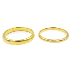 Two 22ct gold wedding bands, hallmarked, approx 5.9gm