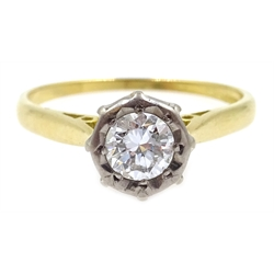 18ct gold diamond solitaire illusion set ring, hallmarked, diamond approx 0.4 carat