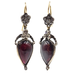 Pair of Georgian pear shaped cabochon garnet and diamond pendant earrings