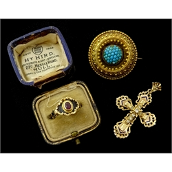 Victorian 18ct gold amethyst and enamel 'In Memory of' ring, London 1870, Victorian Etruscan Revival turquoise brooch and 14ct gold stone set and enamel cross pendant (3)