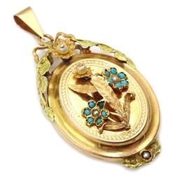 Victorian 18ct gold (tested) hinge back locket, with floral motif set with turquoise and seed pearls