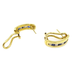 Pair of Egyptian 18ct gold diamond and sapphire half hoop earrings, channel set, hallmarked